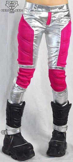 Technocrat Pants Female Silver/Pink-Cyberpunk Technocrat Pants Female Silver/Pink-C Fashion Tights, Fashion Sandals, Sneakers Fashion, Fashion Games, Boy Fashion, Mens Fashion, Fashion Edgy, Cyberpunk Clothes, Cyberpunk Fashion
