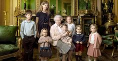 Queen Elizabeth II posed with her great-grandkids, including Prince George and Princess Charlotte, for her 90th birthday — see the adorable pics