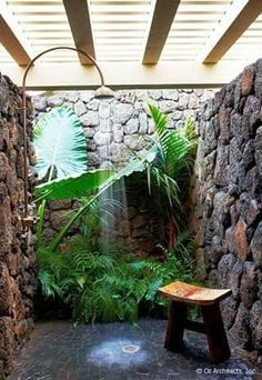 10 Eye-Catching Tropical Bathroom Décor Ideas That Will Mesmerize You - Outdoor shower: it is almost impossible do not love the plants right there as if surrounded by a wa - Outdoor Bathrooms, Outdoor Baths, Outdoor Showers, Luxury Bathrooms, Indoor Outdoor, Plants Indoor, Outside Showers, Master Bathrooms, Dream Bathrooms
