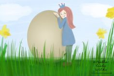 Prinzessin Blaublüte feiert Ostern_Lerngeschichte und Ausmalbild von Hallo liebe Wolke