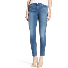 7 For All Mankind Skinny Ankle Jeans ($159) ❤ liked on Polyvore featuring jeans and supreme vibrant blue