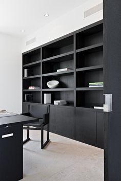Trendy Home Office Design Black Built Ins Ideas Office Interior Design, Home Office Decor, Office Interiors, Home Decor, Office Shelving, Office Shelf, Office Built Ins, Workspace Inspiration, Style Inspiration