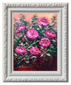 Italian painting pink flowers decor original oil white di Modiarte