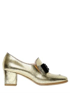 VIVETTA 55MM METALLIC CRACKLED LEATHER LOAFERS, GOLD. #vivetta #shoes #loafers
