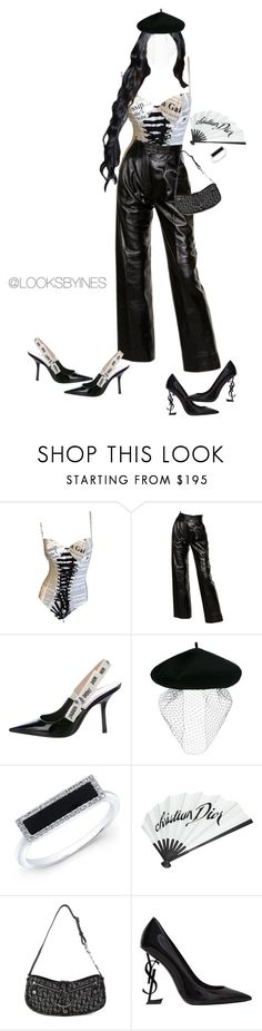 """""""Black n white"""" by inesmchx ❤ liked on Polyvore featuring Yves Saint Laurent, Christian Dior, Silver Spoon Attire, Anne Sisteron, YSL and Dior"""