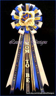 Royal Prince Crown Theme Baby Boy Shower Corsage Pin Keepsake - Mom to Be Cold Porcelain Favor Royal Blue Gold Personalized Ribbon Capia Mum