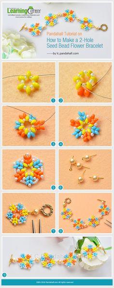 Tutorial on How to Make a 2-Hole Seed Bead Flower Bracelet from LC.Pandahall.com