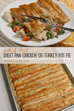 Sheet Pan Chicken or Turkey Pot Pie Lots of flaky puff pastry tops a classic, creamy filling for the ultimate comfort food. Uses rotisserie chicken or leftover turkey. Frozen Puff Pastry, Puff Pastry Sheets, Pepperidge Farm Puff Pastry, Puff Pastry Recipes, Chicken Pie Puff Pastry, Toast Pizza, Cookies Et Biscuits, Ritz Crackers, Sheet Pan