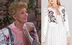 I'm a Soap Fan: Caroline Brady's Embroidered White Jacket - Days of Our Lives, Season 50, Episode 242, 09/03/15, Peggy McCay, #DOOL Fashion, Wardrobe worn on #DaysofOurLives