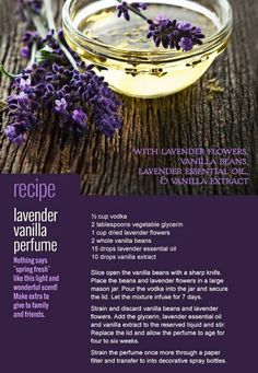 DIY Skin Care Recipes : [ Recipe: DIY Lavender Vanilla Perfume ] Made with: vodka, vegetable glycerin, dried lavender flowers, vanilla beans, and lavender essential oil. ~ from Monterey Bay Spice Co -Read More – I make my daughters baby oil kinda like t Vanilla Essential Oil, Essential Oil Perfume, Perfume Oils, Essential Oils, Dried Lavender Flowers, Lavender Oil, Lavender Crafts, Lavender Ideas, Meadow Flowers