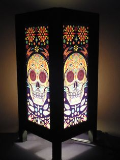 Asian Oriental Thai Japanese skull Bedside Table Lamp Wood mulberry Paper Light Shades Gift Furniture Home Decor