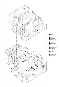 Fun-ctional Box apartment in Tel Aviv by K.T project - CAANdesign Architecture Drawing Plan, Architecture Graphics, Architecture Portfolio, Architecture Design, Architecture Diagrams, Axonometric Drawing, Isometric Drawing, Architecture Presentation Board, Presentation Boards