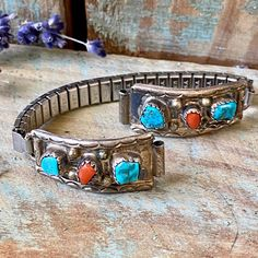 Navajo, Watch Bands, Turquoise Bracelet, 1970s, Old Things, Polish, Stainless Steel, Plates, Watches