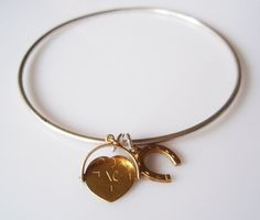 Lucky in Love Vintage Sterling Silver Bangle