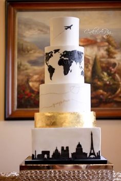 Fun and quirky travel inspired the wedding cake made with satin ice . - Fun and quirky travel inspired the wedding cake made with satin ice cream Cake a pig – # Check mo - Themed Wedding Cakes, Unique Wedding Cakes, Beautiful Wedding Cakes, Wedding Cake Designs, Wedding Cake Toppers, Unique Weddings, Wedding Favors, Perfect Wedding, Wedding Bands