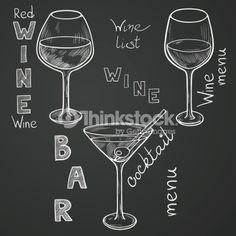 Clipart vectoriel : Sketched wine glasses