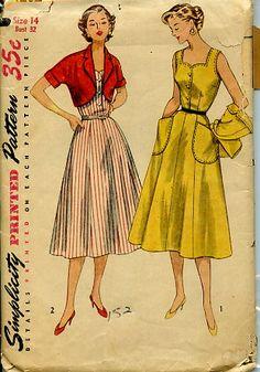 Simplicity 4282 1950's Full Skirt Sleeveless Dress w/ Bolero Jacket Vintage 50's Full Dress Pattern Bust 32