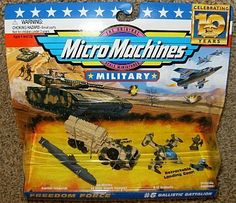 Micro Machines Military Ballistic Battalion #6 Collection by Galoob Micromachines. $69.11. Micro Machines Military Ballistic Battalion #6 Collection!. Includes Patriot Missiles on M983 Hemett Transport with Flip Up Launcher and 2 Special Forces Troops!. Includes Nautilus Submarine and A-37 Dragonfly Jet Airplane with Retractable Landing Gear!. Custom Display Packaging!. The Original Scale Miniatures!. Produced by Galoob in 1996. Rare. Small Parts. Not for chil...