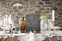Love the chalkboard menu on the table as part of the decor #party, #wedding