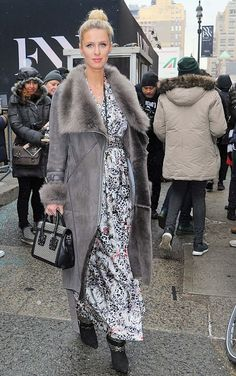 Celebrities In Leather: Nicky Hilton wears a grey suede coat