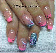 Nail art Christmas - the festive spirit on the nails. Over 70 creative ideas and tutorials - My Nails Nail Tip Designs, Fingernail Designs, French Nail Designs, Pink Nails, Toe Nails, Nagellack Design, French Tip Nails, Summer French Nails, Cute Acrylic Nails