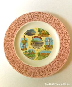 Create your own kitschy gallery wall with a collection of vintage state souvenir plates like this one available on etsy Thrift Store Addiction!