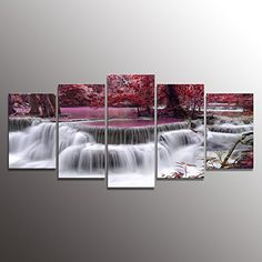 Formarkor Art Canvas Print for Living Room Decoration, Kx00202 Framed, Stretched , 5 Panels Red Dreamlike Waterfall Painting Wall Art Picture Print on Canvas- High Definition Modern Home Decor -- Want to know more, click on the image.