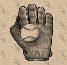 Vintage Baseball Glove Black And White Image Instant Download Digital Printable Picture Clipart Graphic