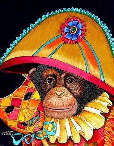 Chauncey acrylic on canvas by Sherry Dole ~ monkey clown Monkey See Monkey Do, Monkey Art, Caricatures, Funy Animals, Carnival Masks, Monkey Business, Animal Sketches, Skull And Bones, Mardi Gras
