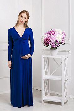 856bf683261a Abito prémaman maxi - Francesca - vestito da sera per gravidanza - maniche  lunghe -Nothing But Love - azzurro - misura 38
