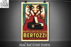 Bertozzi Parma, Achille Mauzan, 1900, cheese lover, retro poster, vintage, food print, kitchen wall art, food & drink, vintage italian gifts by MadButGreatPosters on Etsy Vintage Food, Vintage Italian, Parmigiano Reggiano, Cheese Lover, Poster Vintage, Kitchen Wall Art, Achilles, Parma, Food Print