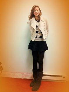 White military jacket + heart cashmere sweater + black mini skirt