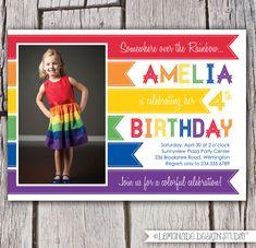 Rainbow Invitation - Rainbow Birthday Party Invitation - Rainbow Photo Invite - Rainbow Brite - Somewhere Over the Rainbow - Printable via Etsy