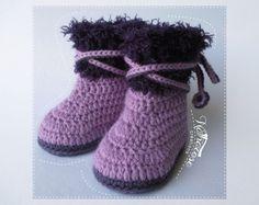 Chaussons bottes d'hiver en laine mauve et violet : Mode Bébé par natharose