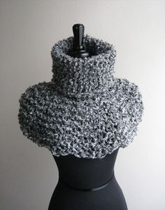 Gray Color Women Men Unisex Chunky Knitted by KnitsomeStudio