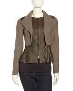 Brown Peplum Leather Wool Jacket, Carafe by Sachin + Babi at Neiman Marcus Last Call $145 CUTE