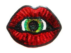 Iron or sew on patch Vaporwave dribbler mouth lips