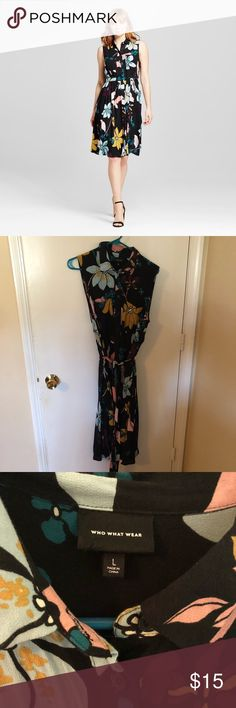 """Who What Wear Target floral midi dress Worn 1x to work - only selling as it no longer fits. I received compliments all day long! Buttons all the way down; 42"""" from collar to hem. Who What Wear Dresses Midi"""
