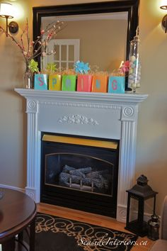 Fun and Easy Spring mantel