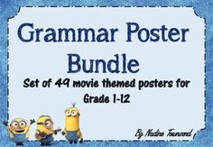 An animated movie themed grammar poster bundle, ready to print and put up in your classroom. Contains the following grammar terms: *Verbs *Nouns *Adjectives *Adverbs *Pronouns *Articles *Conjunctions *Interjections *Prepositions *Prefix *Suffix *Root *Subject *Object *Predicate *Gerund *Infinitive *Clause *Phrase *Simple Sentence *Complex Sentence *Compound Sentence *Declarative Sentence *Interrogative Sentence *Exclamatory Sentence *Imperative Sentence *Passive Voice *Active Voice…