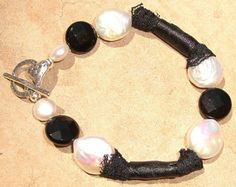 Black Lace And White Pearl Bracelet
