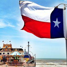 Galveston beach and pier in Texas