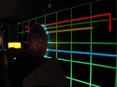 Game Room Tron style wall mural with light cycles - via SpaceWar on the arcade-museum.com forums