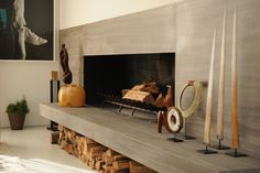 Fireplace. Honed marble fireplace with floating hearth. #interiordesign #fireplace