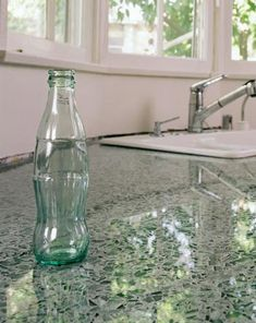 Vetrazzo recycled glass countertops in Hollywood Sage. I love the shimmering glass look. Edgy, and more unique than classic countertops. Recycled Glass Countertops, Concrete Countertops, Kitchen Countertops, Green Countertops, Kitchen Redo, Kitchen And Bath, Glass Kitchen, Recycling, Beton Diy
