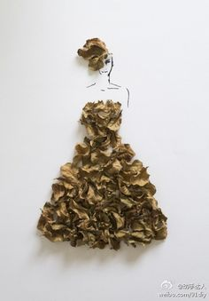 Artist Interview with Tang Chiew Ling. Fashion in Leaves, is a personal project by artist and illustrator Tang Chiew Ling from Malaysia. Arte Fashion, 3d Fashion, Flower Fashion, Paper Fashion, London Fashion, Dress Fashion, Fashion Clothes, Fashion Ideas, Fashion Inspiration
