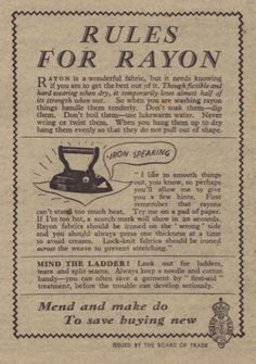 November 1942 - Rules for Rayon Make Do And Mend, November, How To Get, Sewing, Fabric, Life, November Born, Tejido, Dressmaking