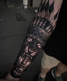 Perfect black and grey tattoo of Wild Girl motive done by tattoo artist Harrison Daniel from Perth, Australia