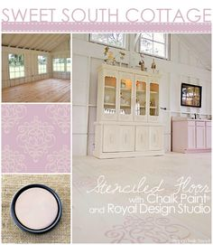 Ribbon Damask stencil and Chalk Paint® to paint and stencil a pretty hardwood floor.