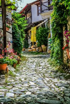 Walking around Palaios Panteleimonas is like walking back in time with the cobblestone street and stone houses. Santorini Greece, Athens Greece, Macedonia Greece, Beautiful Islands, Beautiful World, Mount Olympus Greece, Places Around The World, Around The Worlds, What A Country